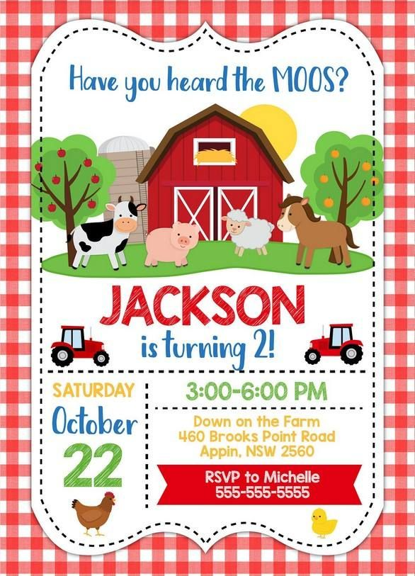 farm animals birthday party invitations