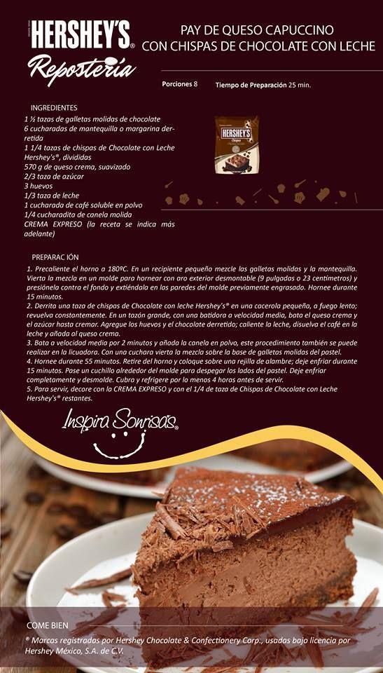 Una deliciosa receta preparada con nuestras Chispas de chocolate con leche Hershey's®. #Hersheys #Chocolate #InspiraSonrisas #Repostería #Postres #Receta #DIY #Bakery #Pastel