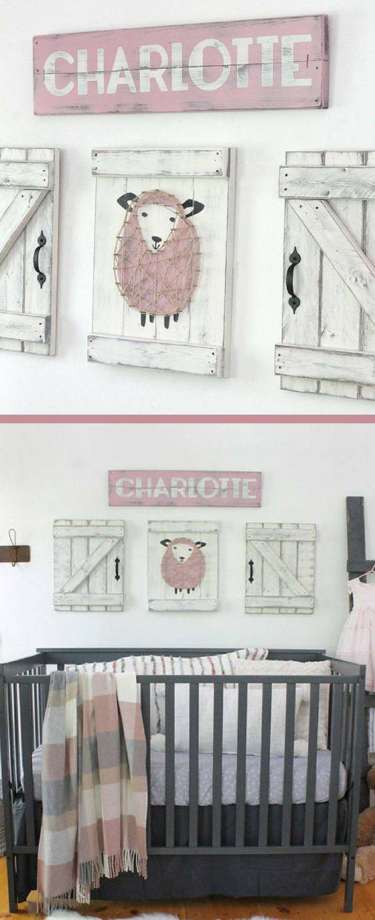 SHEEP NURSERY DECOR, 3 pc. set, lamb nursery art, rustic sheep decor, above the crib wall decor, rustic girl nursery, rustic nursery decor, farmhouse nursery decor, rustic sign, farmhouse sign, home decor, sheep nursery wall art #ad