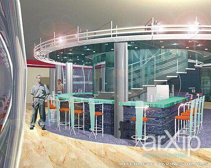 "Интерьер интернет кафе ""Мега"": интерьер, прихожая, холл, вестибюль, фойе, современный, модернизм, ресторан, кафе, бар, 50 - 80 м2 #interiordesign #entrancehall #lounge #lobby #lobby #modern #restaurant #cafeandbar #50_80m2 arXip.com"