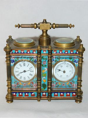 Antique Table Clock with Hygrometer