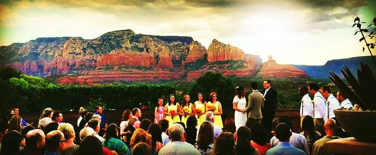 A #Sensational #Summer #Sunday #Wedding!  Make the most of this gorgeous setting and season with brilliantly beautiful colors, such as this yellow bridesmaid display with matching groomsmen boutonnieres.  #ThursdayThoughts #WeddingParty #Color #BridesmaidDress #Groomsmen #Boutennieres #Sunny #Sunday in #Summer! #ViewVenue #azweddingvenue La Belle Social Media & Marketing The Knot WeddingWire Visit Sedona Sedona Chamber of Commerce Sedona Verde Valley #Wedding #Yellow #TheColorOfLove #LOVE…