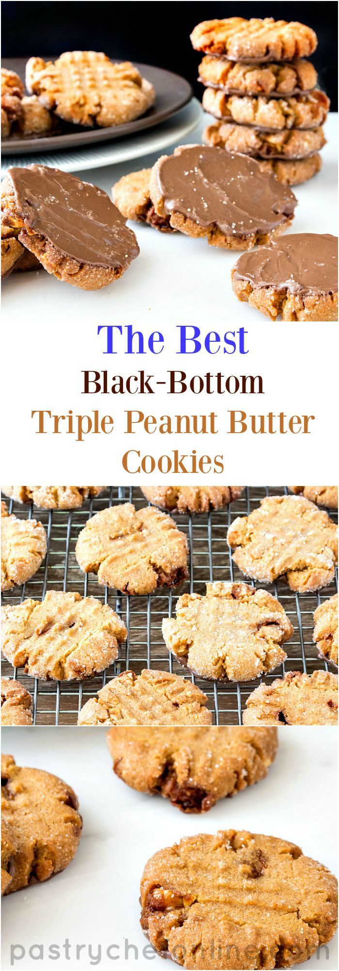 I present unto you the best black bottom triple peanut butter cookies in the world! How does this peanut butter cookie recipe end up with so much peanutty flavor? Natural peanut butter, peanut powder and chopped peanut brittle. These are seriously peanutty, just a touch chocolatey, and seriously delicious! | http://pastrychefonline.com
