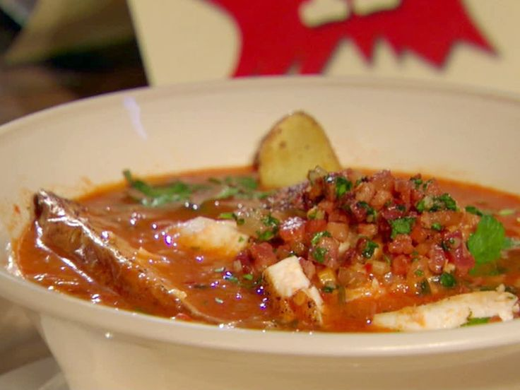 Manhattan Fish Chowder with Roasted Fingerling Potatoes and Bacon Relish Recipe : Bobby Flay : Food Network - FoodNetwork.com