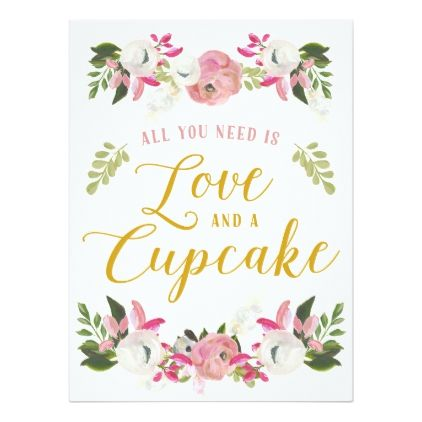 #invitations #wedding #bridalshower - #All you need is love and a cupcake sign card