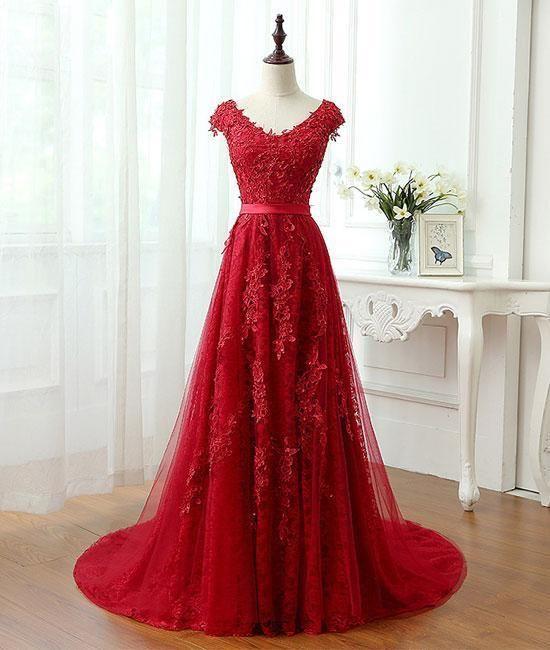 6ad1433f62e 2018 tulle lace applique long prom dress