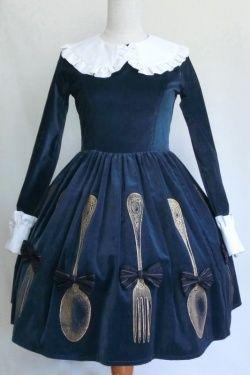 Velvet one piece cutlery tea time party dress. Very Alice in Wonderland.