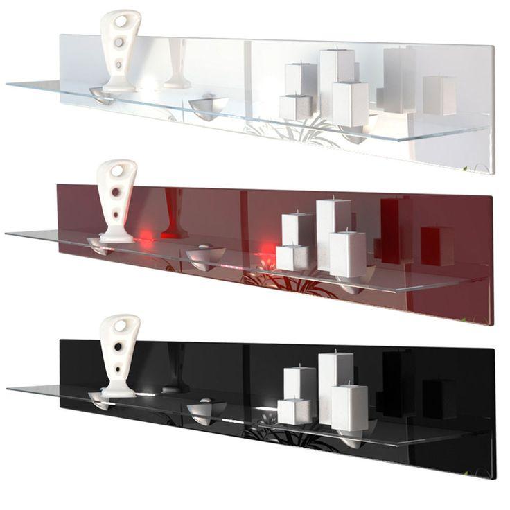 Floating Glass Shelf Wall Mounted Shelves Bari V2 High Gloss U0026 Natural Tones