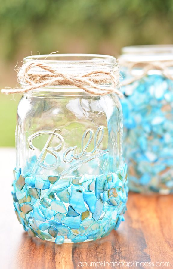 beach glass mason jar craft - Google Search