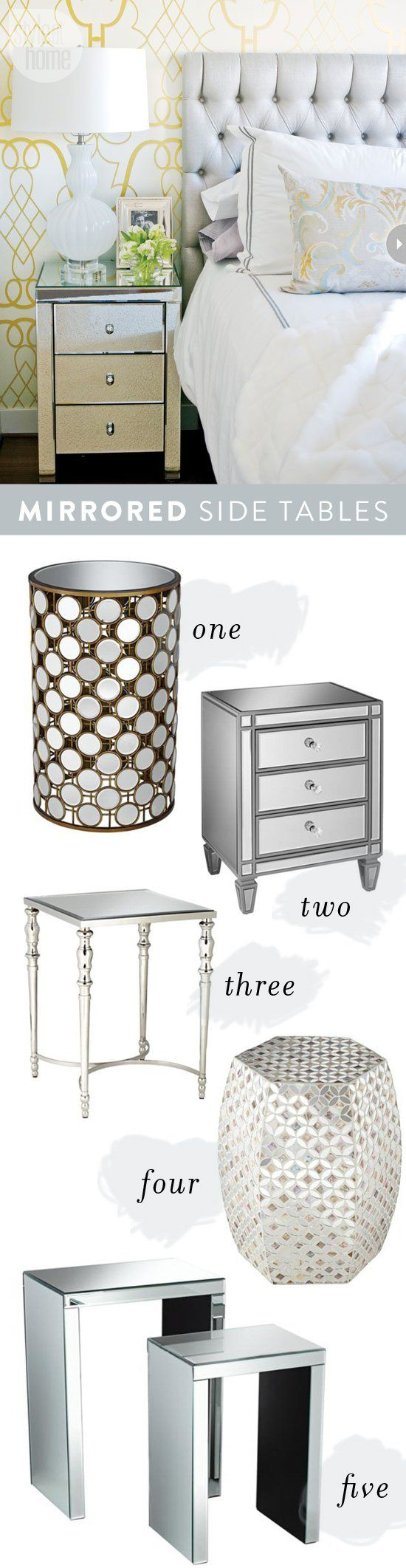 Charming and Glamorous Mirrored Accent Tables for the bedroom