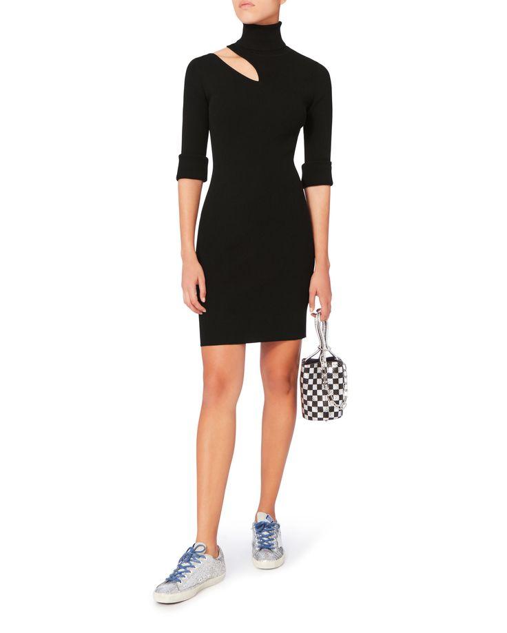 West Dress Cutout Black Turtleneck Dress, BLACK, hi-res