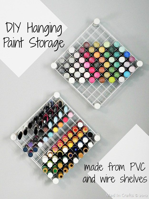 DIY Craft Room Ideas and Craft Room Organization Projects -  DIY Hanging Paint Storage  - Cool Ideas for Do It Yourself Craft Storage - fabric, paper, pens, creative tools, crafts supplies and sewing notions |   http://diyjoy.com/craft-room-organization