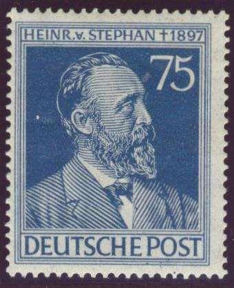 """Germany, Joint Issue, Alliierte Besetzung 1947, Stephan, 75 Pfg. mit Plattenfehler """"kopfstehendes A statt V"""", postfrisch Pracht (postfr., Mi.-Nr.964 I/Mi.EUR 80,--). Price Estimate (8/2016): 15 EUR."""