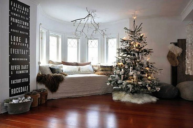 Living Room, Luxury Living Room Christmas Decoration Ideas With Sofa Between The Windows And Wooden Flooring Featuring Christmas Tree In The Room: Christmas Living Room Decorating Ideas