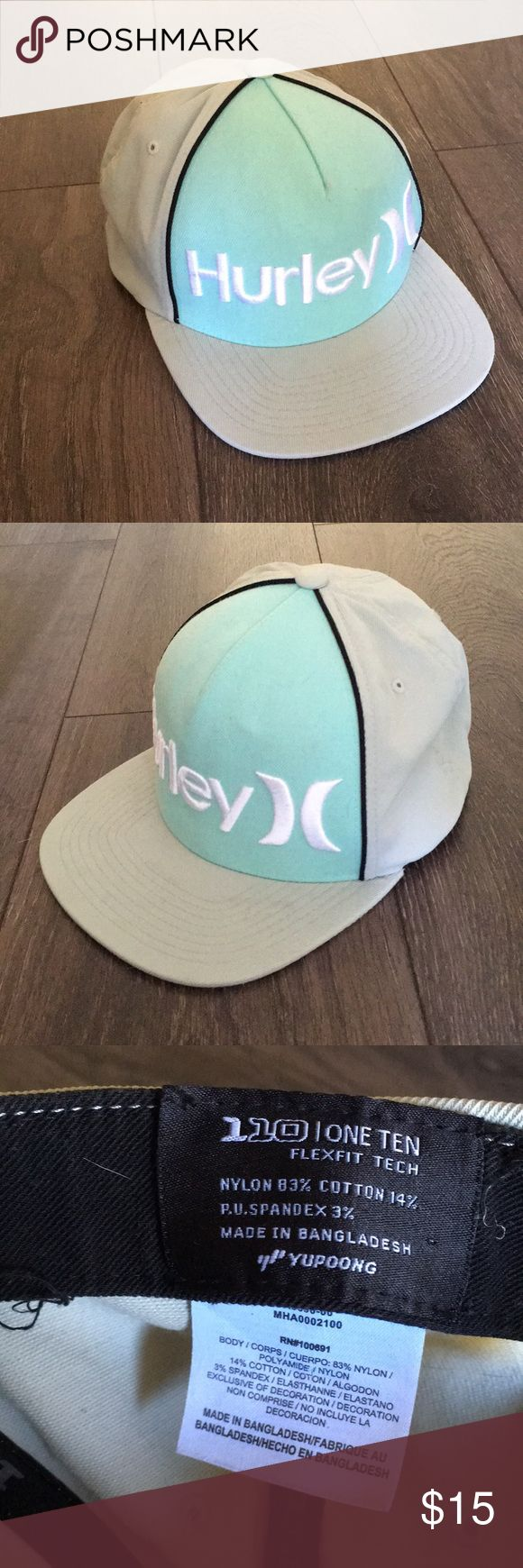 Youth Hurley hat Kids' flat bill Hurley hat size small. Aqua blue, tannish gray and white. Adjustable. Great condition and no flaws. Hurley Accessories Hats