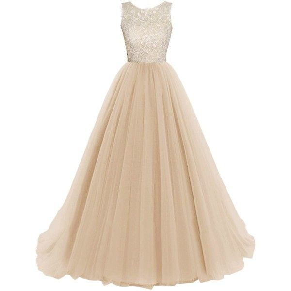 Promonline prom dress lace models long evening dress: Amazon Fashion (205 BRL) ❤ liked on Polyvore featuring dresses, beige lace dress, beige prom dresses, long length dresses, lace dress and prom dresses