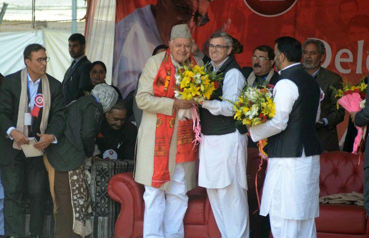 Dr Farooq Abdullah and Omar Abdullah at party delegate session in Srinagar