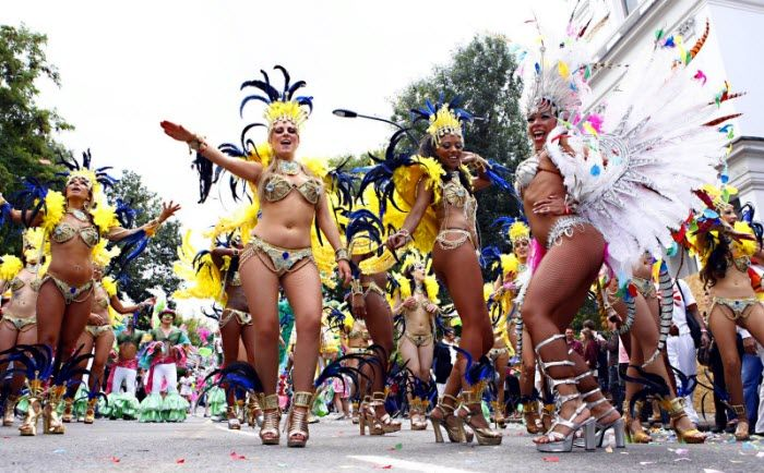 Notting Hill Carnival! The streets of West London come alive with flamboyant costumes, Samba music and a taste of the Caribbean! Notting Hill Carnival takes place every August bank holiday weekend.