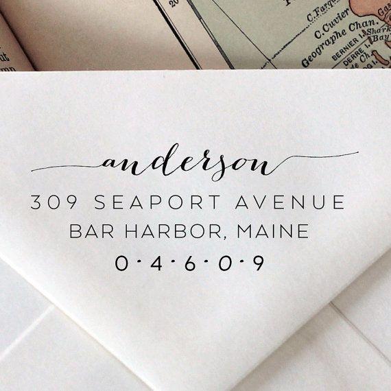 Custom Address Stamp Wedding Calligraphy Monogram Wood