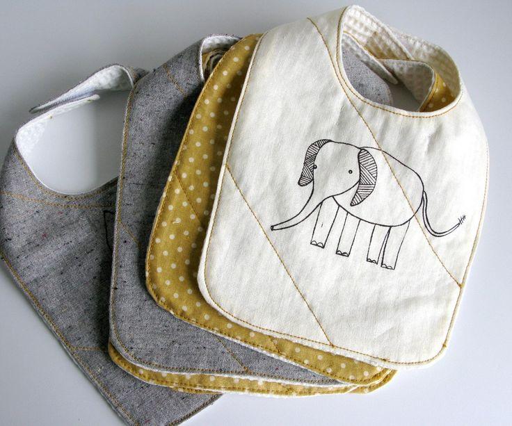 organic baby bib (white elephant) http://www.etsy.com/listing/56509394/organic-baby-bib-white-elephant