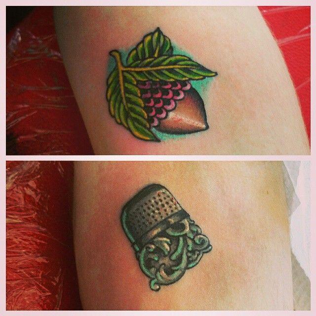 Peter Pan acorn tattoo by Bridgette Harrison
