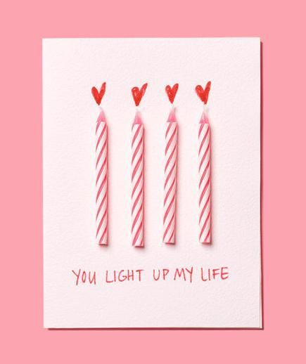 Use birthday candles to make this easy DIY Valentine's Day card