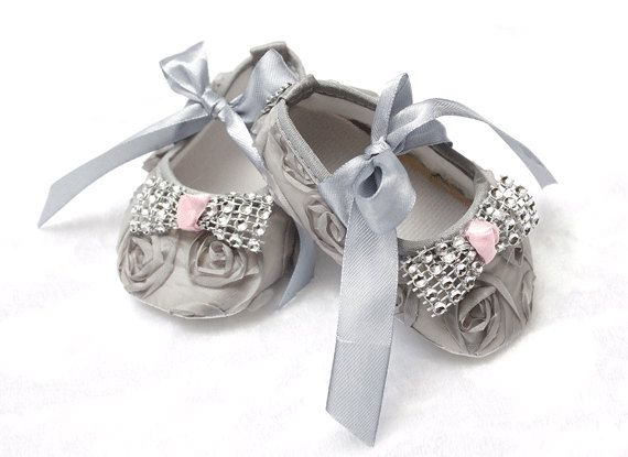 coming home outfit bling baby shoes baby couture gray and pink baby shoes crib shoes newborn photo prop baby diva rosette baby shoes sparkle by ChesapeakeBayby on Etsy