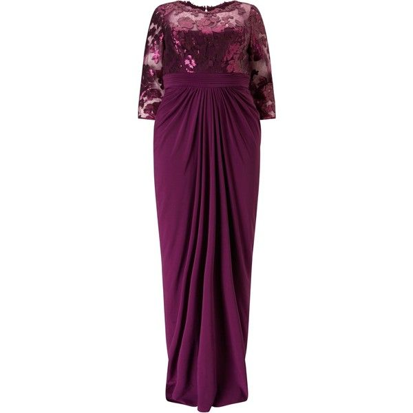Adrianna Papell Plus Size Sequin Illusion Top Dress With Drape Skirt,... (£210) ❤ liked on Polyvore featuring dresses, pleated maxi dress, plus size sequin dress, plus size dresses, purple maxi dress and sequin cocktail dresses