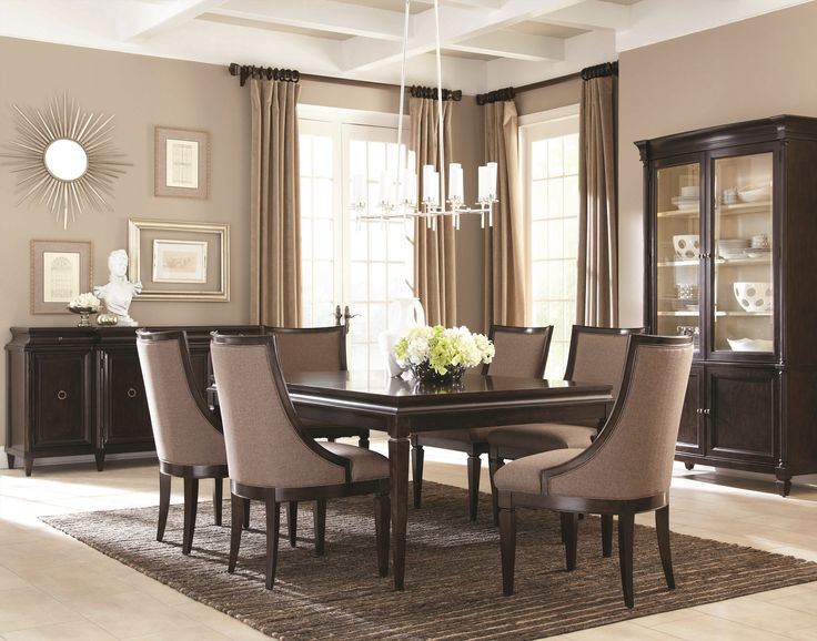 Contemporary Dark Mahogany Dining Room, Modern Formal Dining Room Sets With China Cabinet