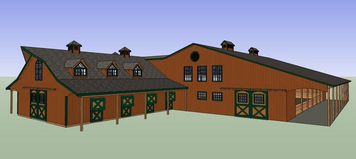 63 best images about horse barns on pinterest indoor for Horse barn house plans
