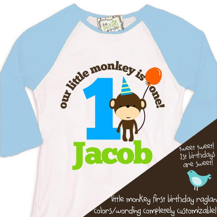 first 1st birthday monkey theme birthday party tshirt little monkey RAGLAN. $22.50, via Etsy.