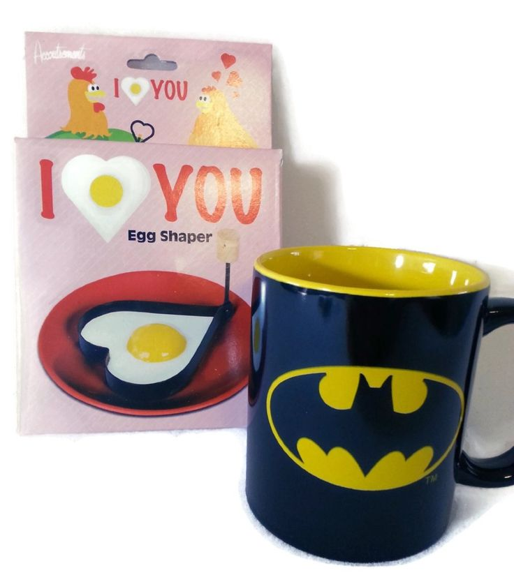 I Love You Batman Breakfast Bundle You get a Batman mug and heart egg shaper. The shaper is made of metal and has a folding wooden handle.