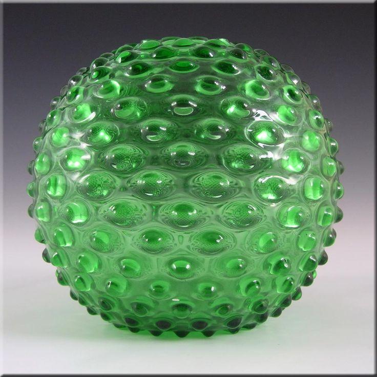 Borske Sklo 1950s Green Glass Spherical Knobble Vase - £29.99