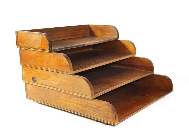 Vintage Wooden Tiered Desktop File Organizer by RuggyRevival on Etsy https://www.etsy.com/listing/520623747/vintage-wooden-tiered-desktop-file