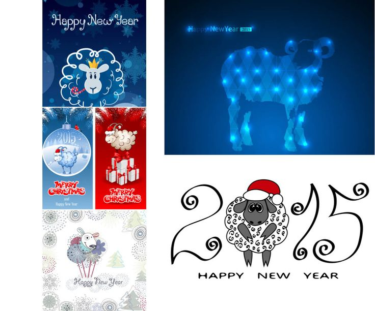 2015 New Year sheep backgrounds and banners vectors | ai, eps, free download
