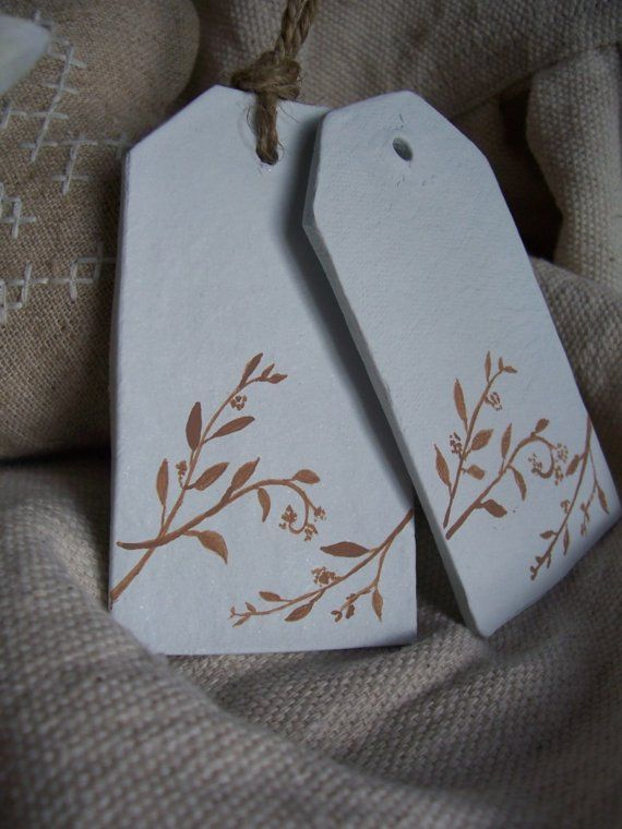 Native Branch Clay Tags set of 2 by marleyandlockyer on Etsy