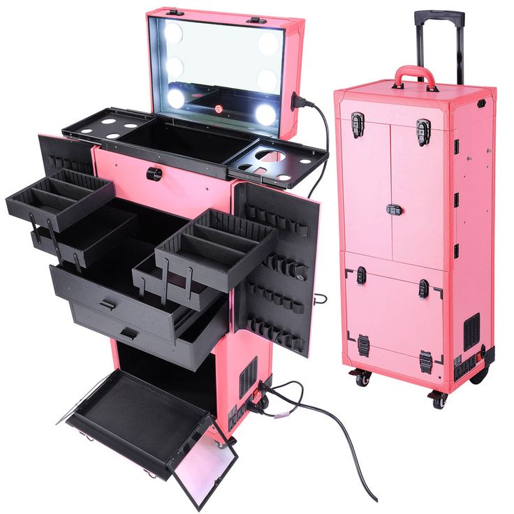 Beautiful pink finish made of leather match       High Quality Aluminum Frame Finish and Construction       Top section with a mirror and 6 Bright LED lights