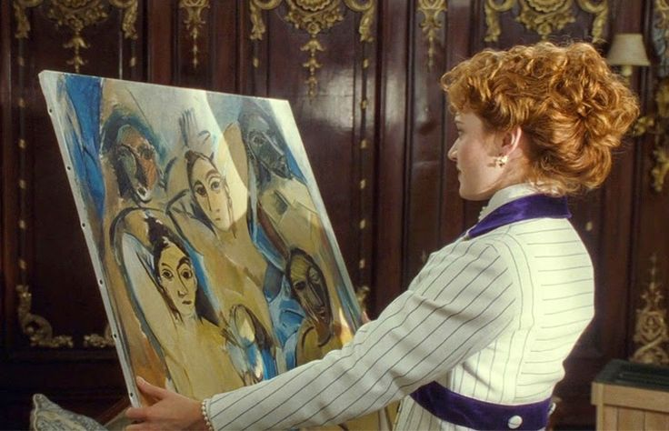 Kate Winslet in Titanic, holding Picasso.