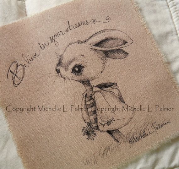 Original Pen Ink Fabric Illustration Quilt Label by Michelle Palmer Bunny Rabbit…