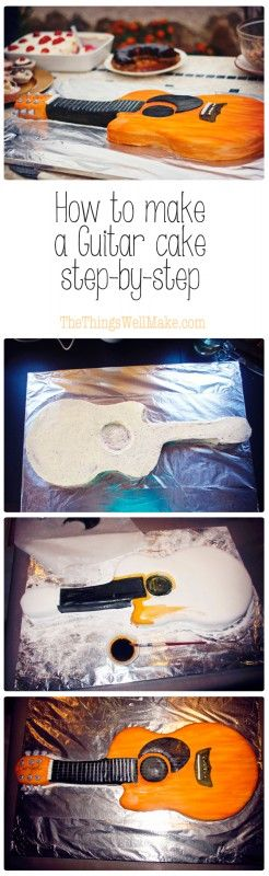 Learn how to make a guitar cake, covered in fondant, step-by-step. I know that my hard core real foodie followers will cringe at this, but I made this acoustic guitar cake for the music festival in our neighborhood. Making the occasional fondant cake has been something I haven't been able to give up. ;)