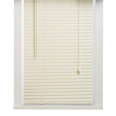 "Alabaster 34x64 Vinyl 1 Inch Mini Blind by Achim Imports. $15.88. Installation hardware and instructions included.. Wipe clean with a damp cloth.. Classic 1"" slats. Auto-locking cord mechanism adjusts blind height. Clear tilt wand. Wipe clean with a damp cloth. Installation hardware and instructions included."