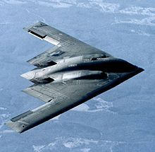 The US-produced B-2 Spirit, a strategic bomber using a flying wing configuration which is capable of intercontinental missions