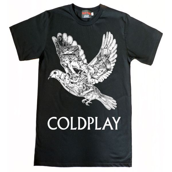Coldplay Ghost Story Bird T-Shirt Size S to XL (£11) ❤ liked on Polyvore featuring tops, t-shirts, shirts, short sleeve tops, short sleeve shirts, unisex t shirts, unisex tops and short sleeve tee