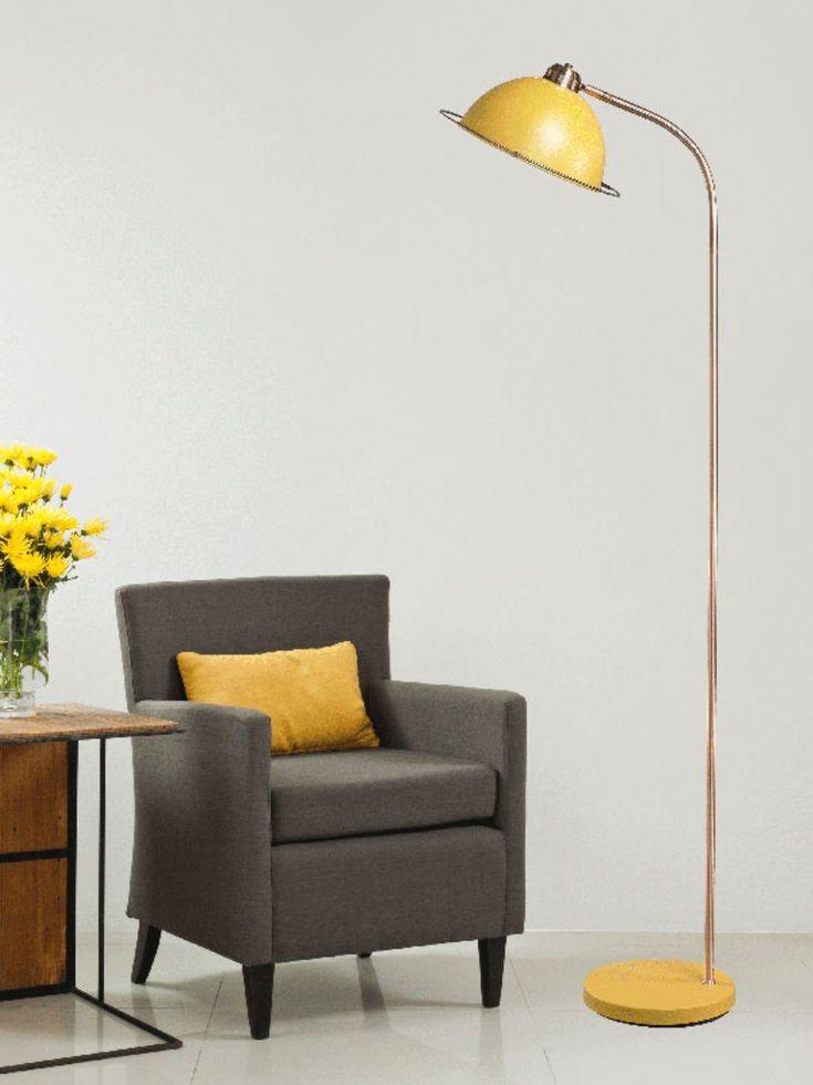 Retro yellow floor lamp with copper stem