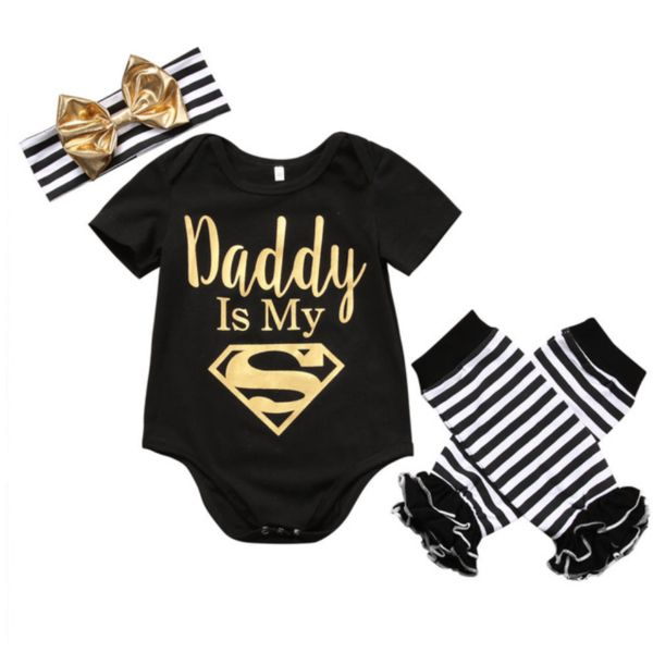 Lovely little 3 piece outfit includes black bodysuit with 'Daddy is My Superman', leg warms & headband.