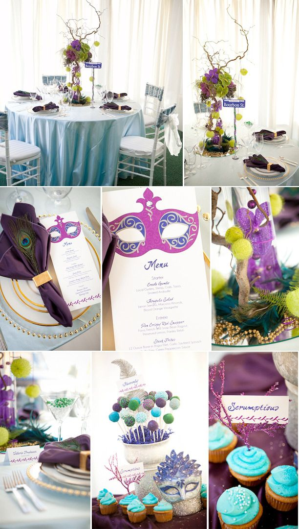 Mardi Gras Wedding...I would totally do this, not neccessarily the colors but the idea of a masked wedding is fantastic