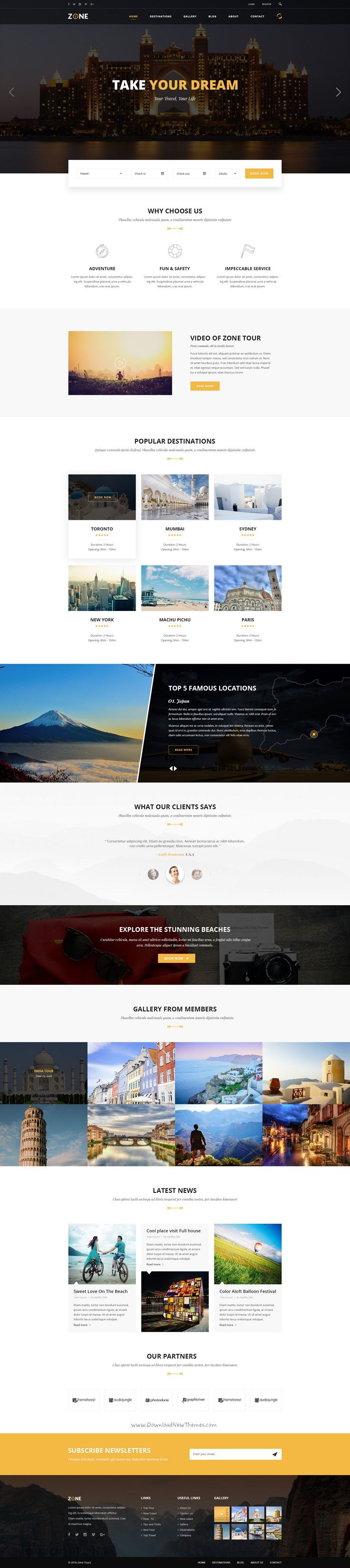Zone Tours and Travel PSD Template