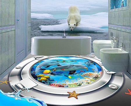 Revêtement de sol showroom salle de bain trompe l'œil 3D - Paysage depuis le hublot sous marin les dauphins