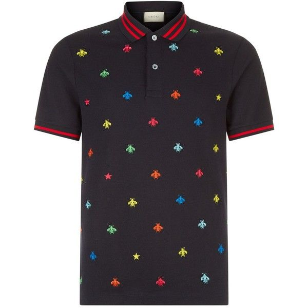 Gucci Insect Embroidered Polo Shirt ($755) ❤ liked on Polyvore featuring men's fashion, men's clothing, men's shirts, men's polos, mens embroidered shirts, mens navy blue polo shirts, mens navy blue shirt, mens navy shirt and gucci mens shirts