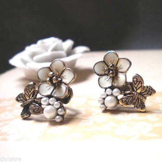 Gold Plated Pearls Butterfly Earrings Butterflies Insect Post Easter Spring USA #Unbranded #Stud